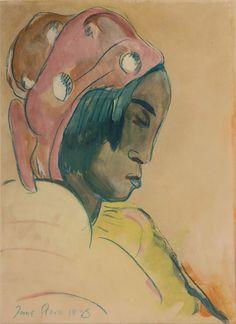 SA Masters / Stern, Irma / Portrait of a woman with pink headdress - SOLD South African Artists, Harlem Renaissance, Bauhaus, People Like, Headdress, Artist At Work, Art Deco, Portraits, Illustrations