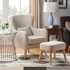 Glenn Modern Contour Wing Chair and Ottoman Set by MID-Century Living Living Room Chairs, Summer Furniture, Classic Living Room, Arm Chairs Living Room, Interior Design, Furniture, Chair And Ottoman Set, Mid Century Living, Luxury Chairs