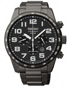 b17be221932 Seiko Mens Solar Chronograph - Black Dial - Stainless Steel w TiCN Plating   menswatches