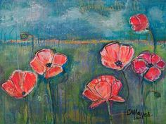 #GIVEART for #Valentines ORIGINAL CONTEMPORARY ART Poppies Floral Acrylic Painting by Laurie Maves #ContemporaryArt