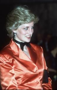 Diana, Princess of Wales wears in bow tie in Portugal in 1987.