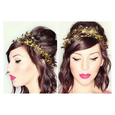 15 DIY Headbands and Hairpins to Make for NYE ❤ liked on Polyvore featuring accessories, hair accessories, bobby hair pins, head wrap headband, hair band headband, embellished headbands and sparkly hair accessories