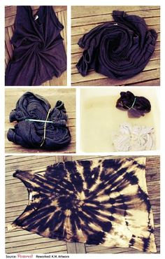 Reverse tie dye. Mix bleach with water (1 to 10) after wrapping and spray until happy. Then wash dry as normal after letting dry overnight