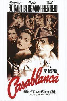 Casablanca. 1942. Directed by Michael Curtiz. Starring Humphrey Bogart, Ingrid Bergman, Paul Henreid, Claude Rains, Peter Lorre, Sydney Greenstreet.