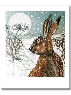 hare and teasel lino - Art And Illustration, Illustrations, Lapin Art, Image Deco, Fru Fru, Rabbit Art, Bunny Art, Whimsical Art, Christmas Art
