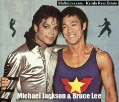 Michael Jackson and Bruce Lee. It would've been great if they had really met in person.lee+J Bruce Lee Fotos, Bruce Lee Art, Bruce Lee Martial Arts, Bruce Lee Frases, Bruce Lee Pictures, Bruce Lee Family, Photo Star, The Jacksons, Actrices Hollywood