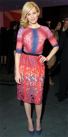 Banks teamed vibrant Peter Pilotto separates with suede Casadei heels at the after-party for The Five-Year Engagement.