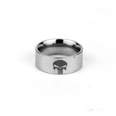 The Punisher Skull Logo Mask Stainless Steel Rings Size in 7-13 #Affiliate