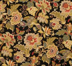 Home Decor Print Fabric- Swavelle Millcreek Venezla Cliffside Noir either too dark or stunning for the kitchen Motif Tropical, Japanese Embroidery, Drapery Fabric, Pillow Fabric, Textiles, Home Decor Fabric, Joanns Fabric And Crafts, Decoration, Fabric Design