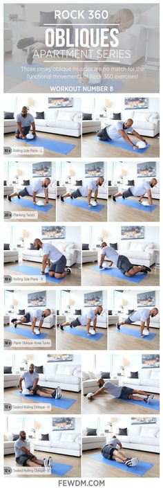Oblique muscles can be difficult to train, but with this ROCK 360 workout it's easy and effective! Workout #8 in the Apartment Series, Obliques.