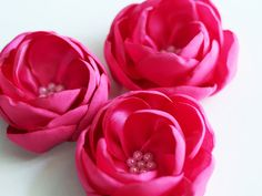 3 pcs satin magnolia flower appliques fabric by MeanwhileCraft