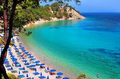 A magnificent beach with emerald sea water in Samos island ❤