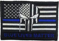 Patch Squad Men's Tactical USA Flag Bleeding Punisher Blue Lives Blue Line Patch