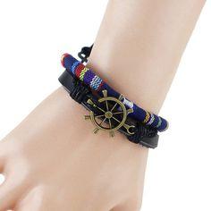 Retro Multilayer PU Leather Rudder Bracelet For Men #jewelry, #women, #men, #hats, #watches, #belts, #fashion