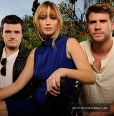 The cast of the Hunger Games - Josh Hutcherson, Jennifer Lawrence and Liam Hemsworth Hunger Games Cast, Katniss And Peeta, Josh Hutcherson, Liam Hemsworth, Cinema, Catching Fire, Mockingjay, Celebs, Celebrities