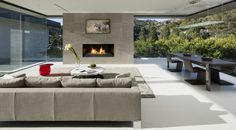 Anthony likes this fireplace shape Los Angeles, Laguna Beach Architecture Projects | McClean Design