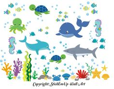 PRODUCT DETAILS:    Super colorful undersea, ocean, sea creature wall decal will totally transform your nursery or playroom. Goes up very