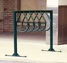 Model BK-2: Tubular Steel Bike Rack. Shown here as standard surface mount. Also available as standard in-ground mount.