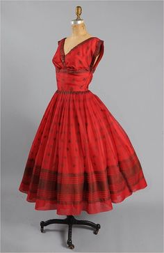 1950's red party dress
