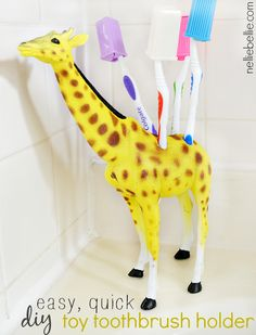 Turn a plastic kids toy into a toothbrush holder quickly and easily. What a fun, creative addition to a children's bathroom! Turn a plastic kids toy into a to… Childrens Bathroom, Bathroom Kids, Quick Diy Toys, Cute Diy Projects, Craft Projects, Craft Ideas, Diy And Crafts, Crafts For Kids, Simple Crafts