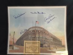 "COLOR LITHO OF FRONT ENTRANCE OF BROOKLYN DODGERS EBBETS FIELD, HAND SIGNED BY FIVE FORMER BROOKLYN DODGERS PLAYERS, INCLUDING DECEASED HALL OF FAME CENTERFIELDER DUKE SNIDER, DECEASED STARTING PITCHER, JOHNNY PODRES, DECEASED HALL OF FAME MANAGER, DICK WILLIAMS, DECEASED OUTFIELDER AL GEONFRIDDO AND DECEASED OUTFIELDER PETE COSCARART. COMES WITH COA FROM LAS VEGAS SHOW PROMOTER, DON WILLIAMS AND IS SUITABLE FOR FRAMING AND MEASURES 16""W BY 20"" L"