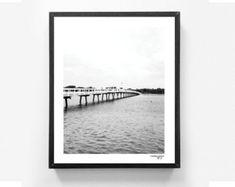 Bridge Landscape photography Black and white Monochrome Melbourne Australia Landscape print Wall art Nautical decor Lake 8x10 MossyJojo.