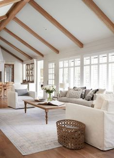 I immediately felt inspired walking into this room. The vaulted ceilings enhanced by beams, the shape of the existing built in shelves, and the fireplace were all details that I knew I wanted to preserve. We just needed to brighten them up a bit. Tiny Living Rooms, Beautiful Living Rooms, Home Living Room, Living Room Designs, Living Room Decor, Fixer Upper Living Room, High Ceiling Living Room, Living Room Windows, Bright Living Rooms
