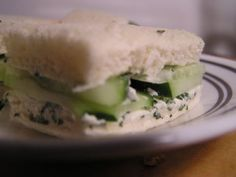 cucumber sandwhich recipe. Substitute mayo for yogurt and wah-la! Healthy St. Patty's day lunch :]
