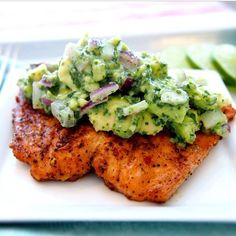 ✨Grilled Salmon with Avocado Salsa✨  Recipe By @fitandfiesty  INGREDIENTS  2lbs Salmon, cut into 4 pieces 1 tbsp. Olive Oil 1 tsp. each Cumin, Chili, Onion Powder and Paprika  For the salsa  1 Avocado, sliced 1/2 small Red onion, sliced Juice from 2 Limes  METHOD  Mix spices and marinate salmon. Refrigerate for 30mins.  Preheat the grill.  Combine all avocado salsa ingredients and refridgerate until ready to serve.  Grill salmon until done to your liking and serve with salsa…