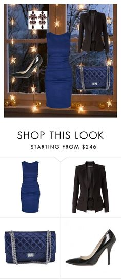 """night in blue"" by laura-rudzoshka on Polyvore featuring mode, Nicole Miller, Alexandre Vauthier, Chanel et Prada"