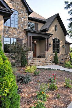 Harika taş ve tuğla dış ev tasarımı 11