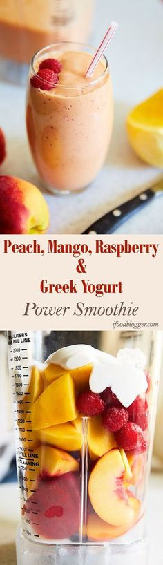Peach Mango Raspberry and Greek Yogurt and more. - Fitness Shirts - Ideas of Fitness Shirts - Power Peach Smoothie Recipes. Peach Mango Raspberry and Greek Yogurt and more. Awesome for breakfast. Power Smoothie, Juice Smoothie, Smoothie Drinks, Breakfast Smoothies, Healthy Smoothies, Healthy Drinks, Healthy Snacks, Healthy Recipes, Raspberry Smoothie