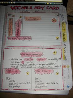 vocabulary journal.  I actually like the key about you do/I do.   I keep a teacher version for catchup.   Great tool.