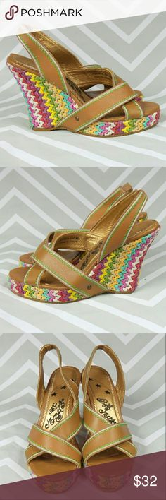 """💥 Naughty Monkey stitched striped wedges Braided wedges with green and white stitching on the straps. Very good condition. Some of the stitching has come loose on one of the straps.  These are marked size 8.5 but run big.  1"""" platform.  No trades. naughty monkey Shoes Wedges"""