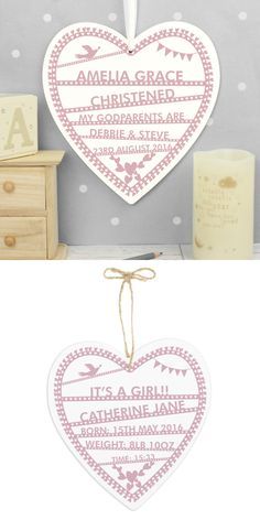 Look At This Beautiful Wooden Heart Personalised For A New Baby Or Christening