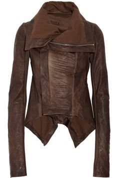 RICK OWENS  Paneled leather jacket