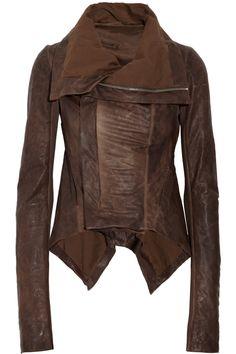 RICK OWENS  Paneled leather jacket