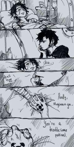 Law, Luffy, yaoi, text, comic, sad, hospital, bandages, holding hands, sleeping; One Piece