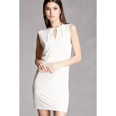 Forever21 Bodycon Keyhole Dress ($48) ❤ liked on Polyvore featuring dresses, cream, cutout dresses, white body con dress, cream cocktail dress, cutout bodycon dresses and white cut out dress