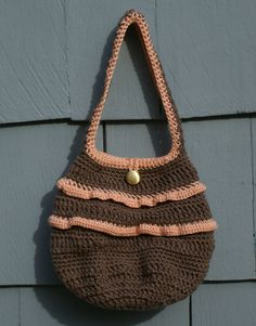 Chestnut Ruffled Shoulder Bag Crochet purse with by RoxieandBen for sale on Esty $40.  This bag is fully lined with a pocket and a button closure.  It would make and excellent gift! See our Holiday sale on Etsy - 10% off now through Monday, December 1, 2014.