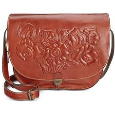 Patricia Nash Pretta Tooled Flap Bag ($102) ❤ liked on Polyvore featuring bags, handbags, shoulder bags, florence, shoulder handbags, leather purse, genuine leather purse, flap shoulder bag and red purse