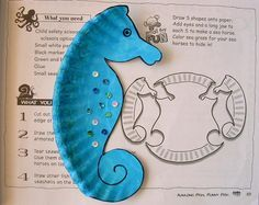 Sea horse made of paper plate + lots of ideas of crafting for kids and kids event with paper plates