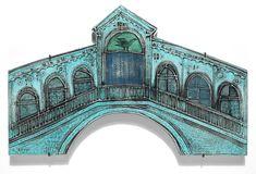 The Venetian Palace by Rut Bryk Gaudi, House Tiles, Drawing, Ceramic Art, Finland, Taj Mahal, Illustration Art, Colours, Ceramics