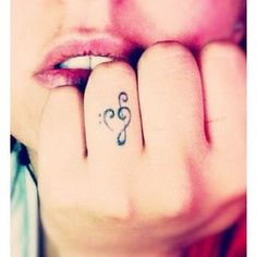 Cute Musical Note/Heart Tattoo .