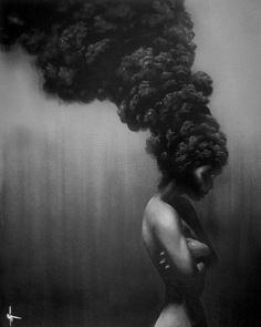 african woman afro of fire smoke beautiful portrait feminine female nude art « « Mayhem & Muse