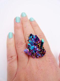 Rainbow Titanium Aura Quartz Ring