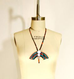 African Print Fabric Cloth Pendant with by vintagebycassandra