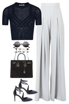 A fashion look from January 2016 featuring cropped shirts, high waisted pants and high heel shoes. Browse and shop related looks. Classic Work Outfits, Simple Outfits, Pretty Outfits, Casual Outfits, Fashion Beauty, Girl Fashion, Fashion Looks, Fashion Outfits, Womens Fashion