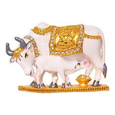 f51273832df Art N Hub Handcrafted Decorative Kamadhenu Cow   Calf Brass Statue Divine  Showpiece  24 K Gold Plated Spiritual Vastu Nandi Pooja Figurine Sculpture   ...