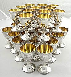 36 English silver wine goblets